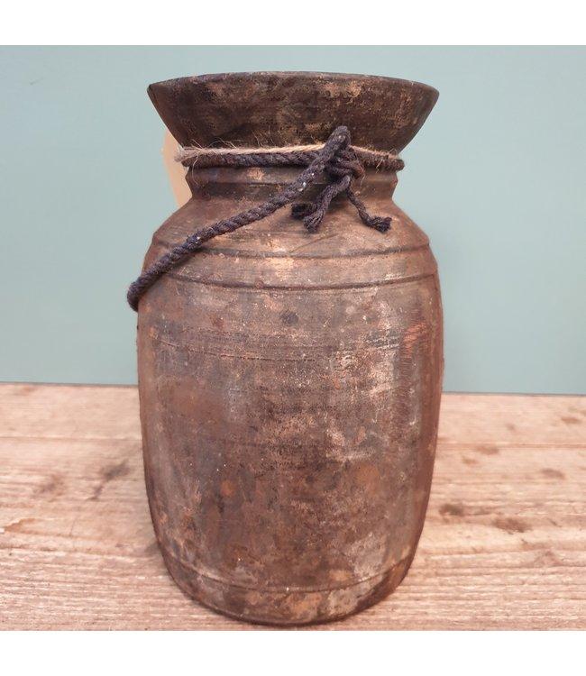 Nepalese houten vaas - 15 - 13 x 13 x 22 cm