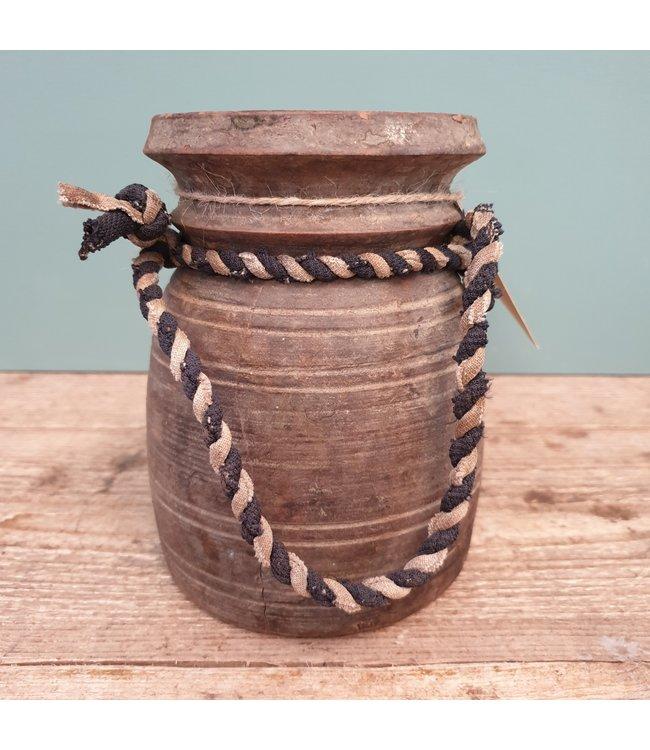 Nepalese houten vaas - 18 - 12 x 12 x 17 cm