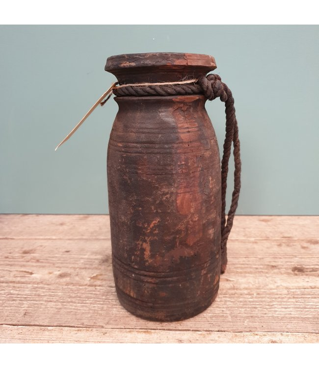 Nepalese houten vaas - 19 - 11 x 11 x 25 cm