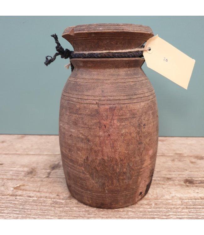 Nepalese houten vaas - 20 - 12 x 12 x 22 cm