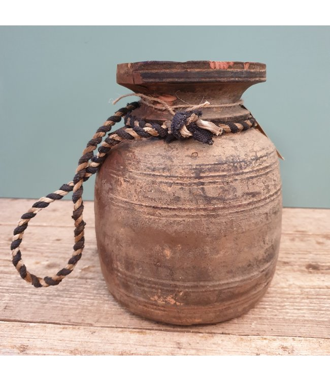 Nepalese houten vaas - 21 - 17 x 17 x 21 cm