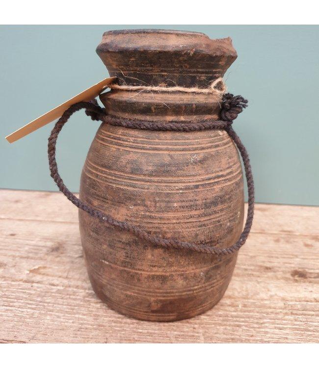 Nepalese houten vaas - 24 - 12 x 12 x 21 cm