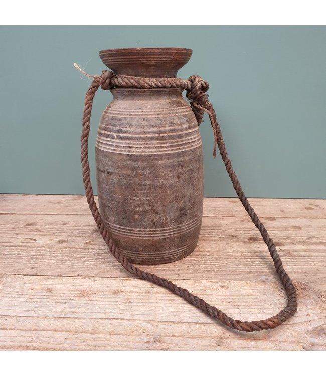 Nepalese houten vaas - 25 - 13 x 13 x 26 cm