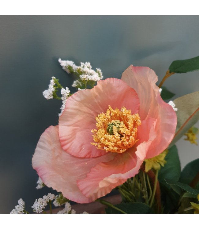 # W673 - poppy spray zalm - 76 x 8 x 8 cm