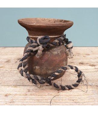 Nepalese houten vaas - 32 - 13 x 13 x 13 cm