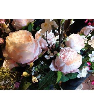 # A229 - Pioenroos zachtroze - tak met 3 bloemen - 72 cm
