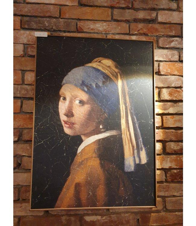 # B641 - Doek in houten lijst - meisje met de parel - 51 x 71 cm