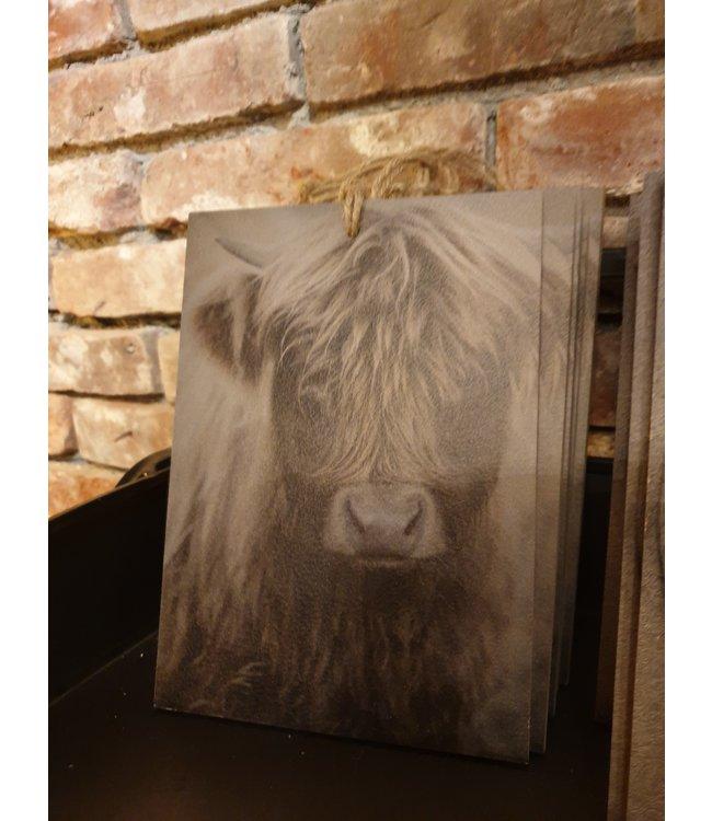 # Decobordje - hooglander jong - hout aan touw - 15 x 1 x 21 cm