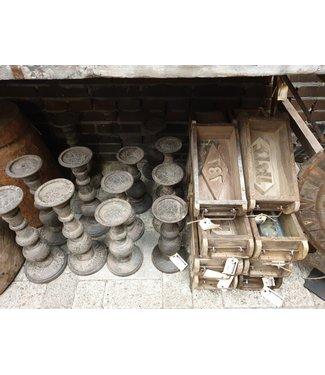 # houten baksteenmal met stempel en metalen handvat - per stuk - 32x15x10cm