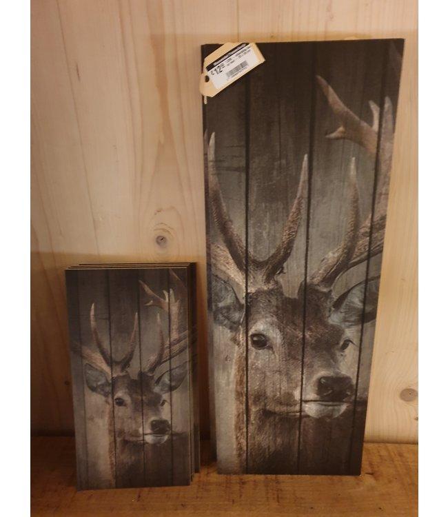 # J296 - afbeelding hert op hout - 20 x 55 cm
