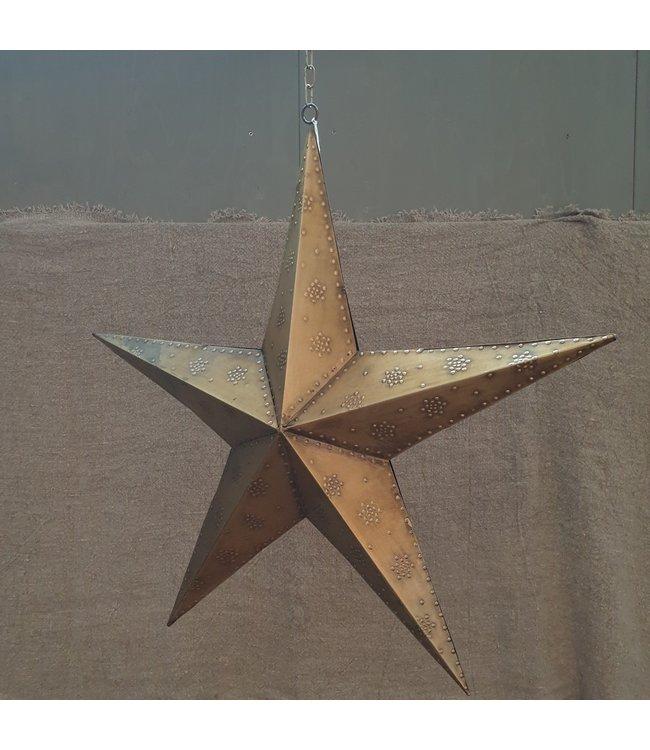 Star beaded 3-D 60 ant.brass - 60 x 60 x 13 cm - ster