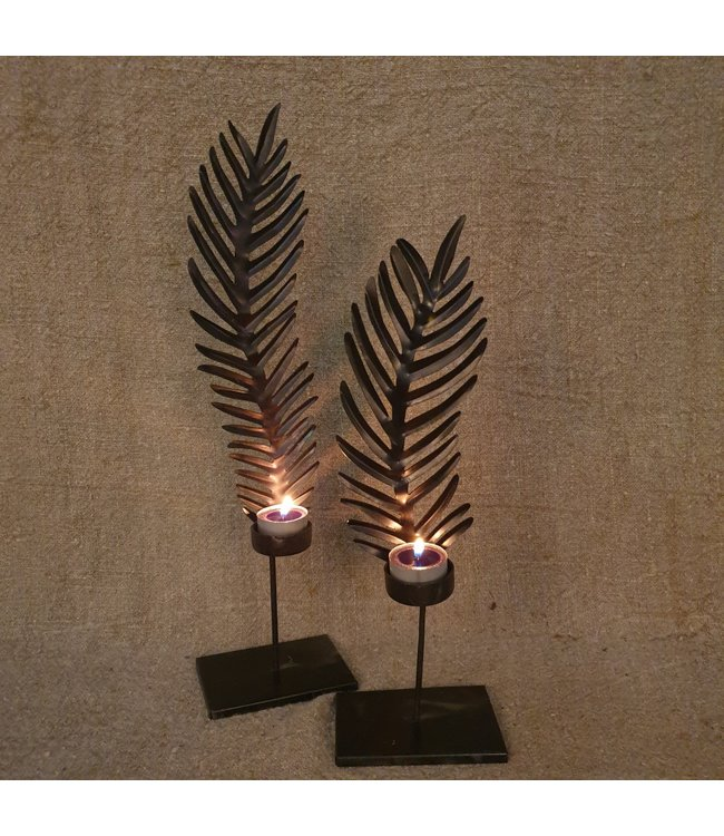 # i417 - Set van 2 metalen waxinelichthouders  veer- Small 39 x 10 x 10 Large 49 x 10 x 10