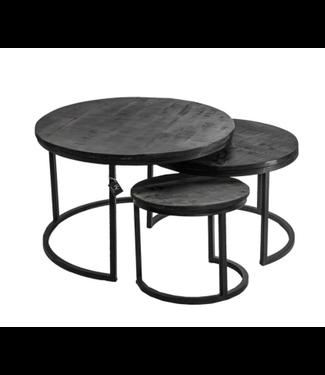Set van 3 mango salontafels black wash - 76/60/40cm - worden niet verzonden/alleen afhalen
