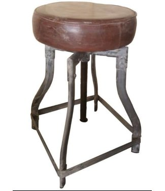 # C065 - Iron stool leather seat - 30 cm x 50 cm (70cm uitgedraaid)