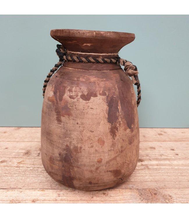 Nepalese houten vaas - 37 - 21 x 21 x 27 cm