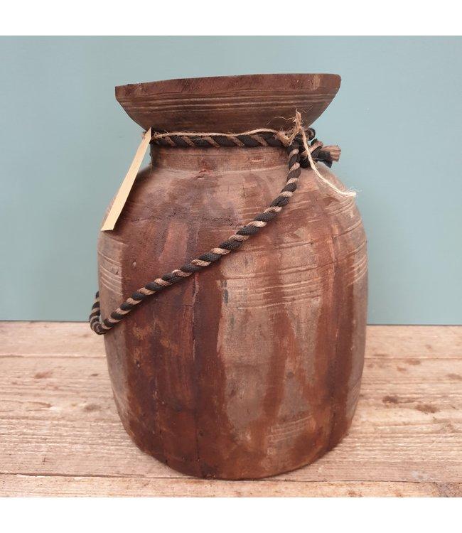 Nepalese houten vaas - 39 - 22 x 22 x 29 cm