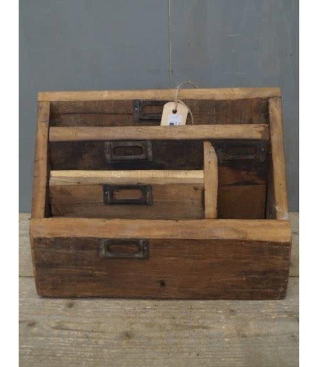 *Z859 - Robuuste organizer - hout - 34 x 13 x 25 cm