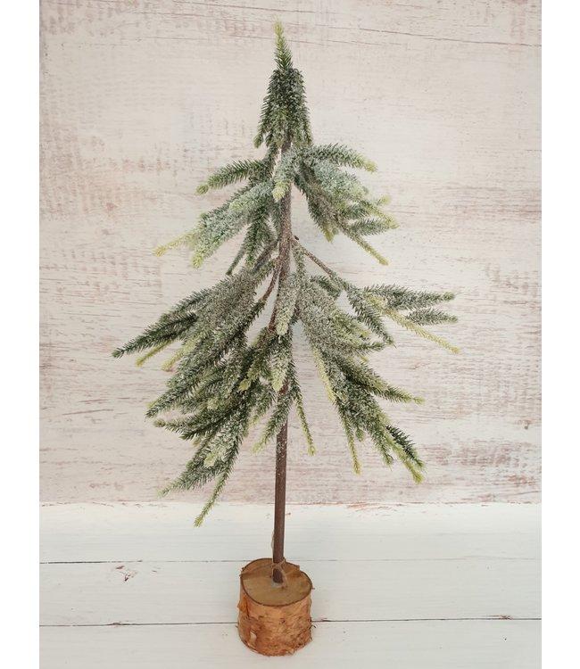 Kerstboom kunst met sneeuw - 20x20x65cm