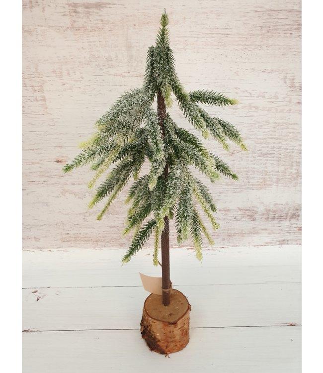 Kerstboom kunst met sneeuw - 20x20x50cm