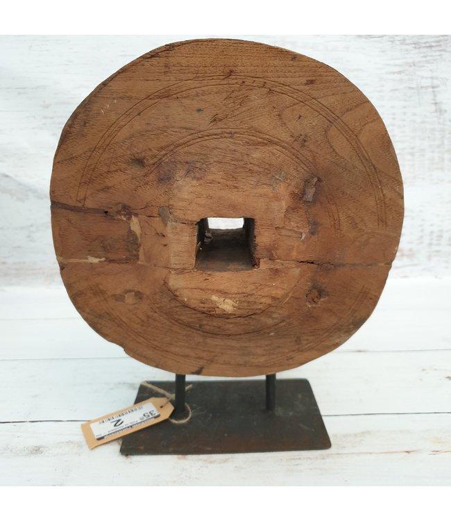 @ Houten pully op metalen standaard - 5 - 23 x 8 x 28 cm
