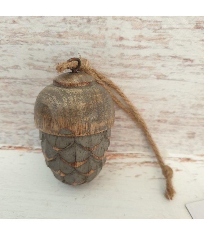 @ decoratieve toefhanger of hang ornament van hout  11 cm  vintage grey