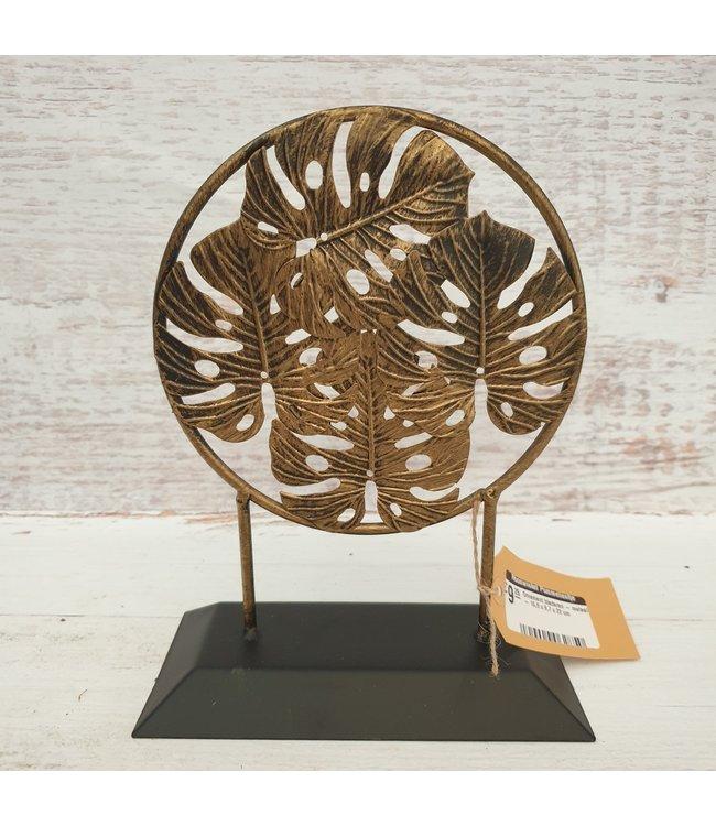 Ornament bladeren - metaal - 16,8 x 8,7 x 22 cm