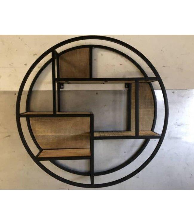 # J745 - Zwart metalen wandrek cirkel - 80 cm