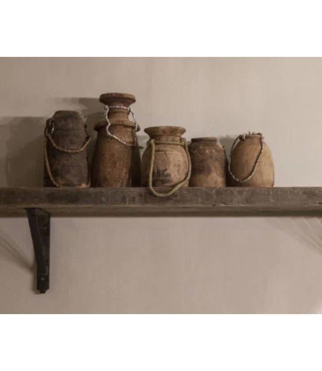 # B291 - Robuuste wandplank oud hout incl. 2 smeedijzeren planksteunen - 100 x 20 x 5 cm - worden niet verzonden/alleen ophalen