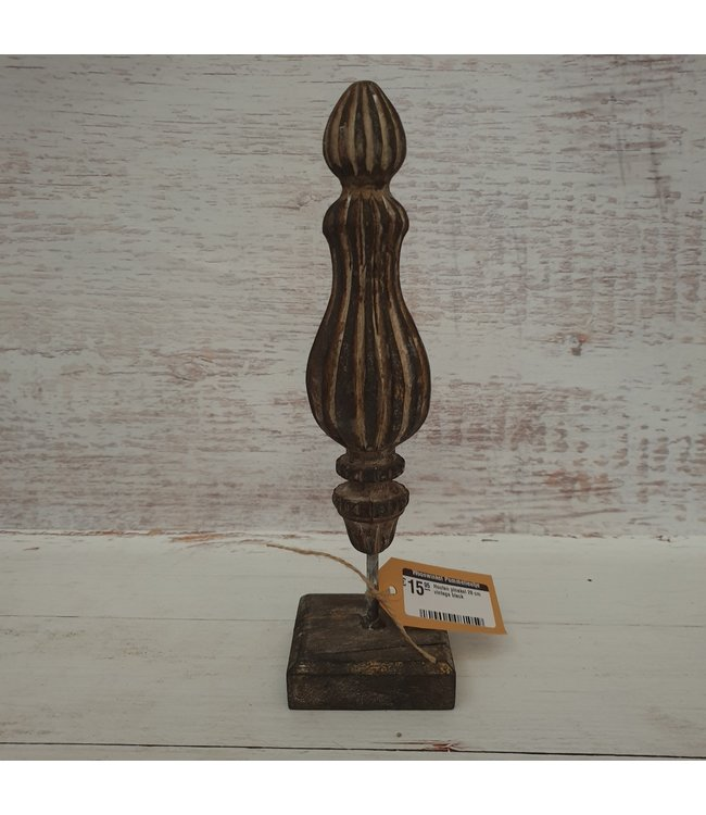 Houten pinakel - 8 x 8 x 28 cm   vintage black - per stuk