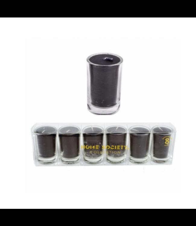 # Setje van 6 kaarsjes in glas - 20x3.5x5 cm - zwart