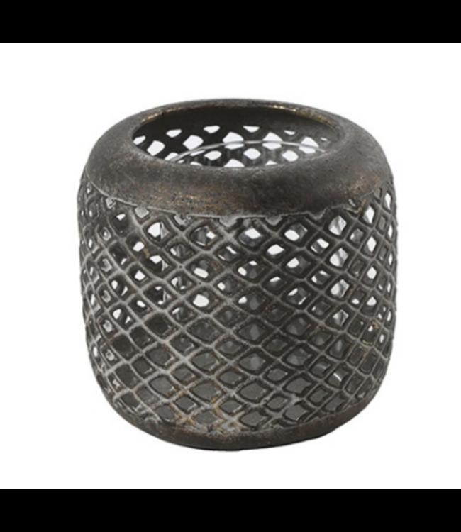 Theelichth Alycia M brons-L11,5B11,5H9,5CM