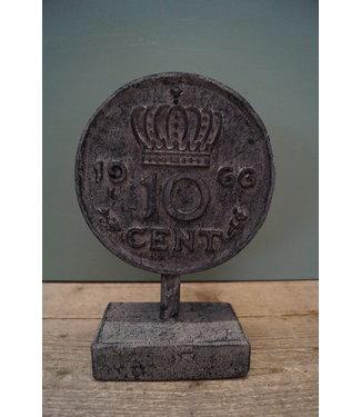GG - Ornament munt 10 cent - polystone - 18 x 9 x 27 cm