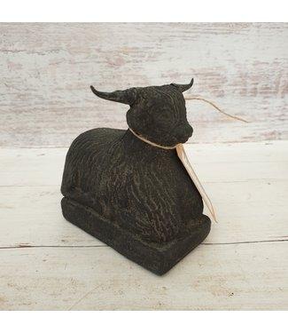 GG - Zwarte hooglander liggend - klein - steen - 12 x 7 x 12 cm