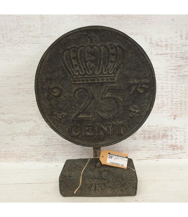 GG - Ornament munt 25 cent - polystone - 27 x 10 x 38 cm