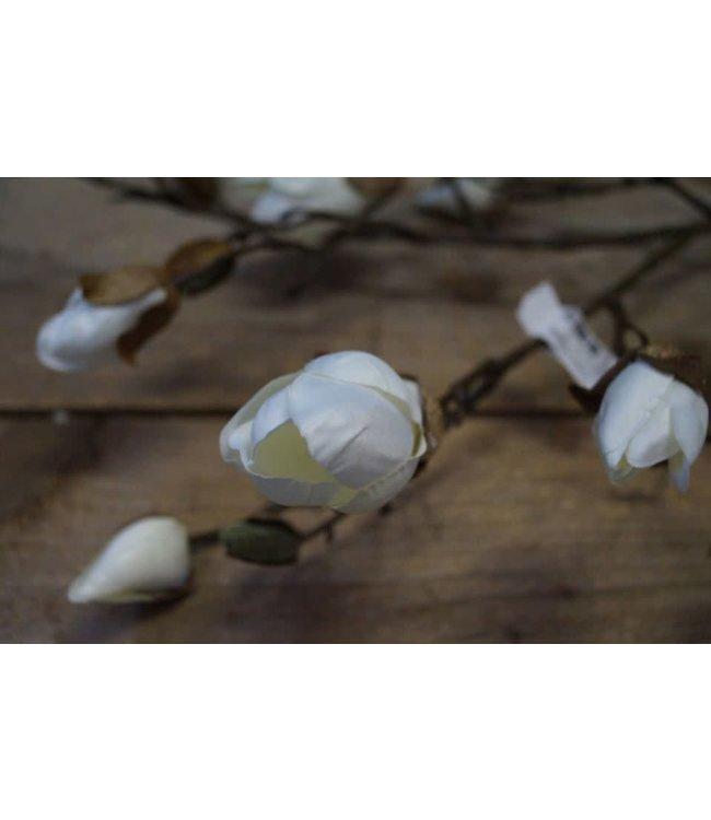 # Q986 - Magnolia knop tak Kelsey L wit - imitatie - l108b18h3cm