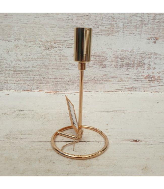 Kandelaar - metaal klein - goud - 10 x 10 x 16 cm