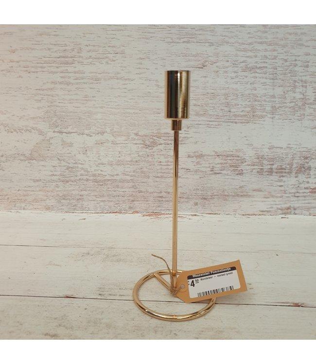 Kandelaar - metaal groot - goud - 10 x 10 x 23 cm