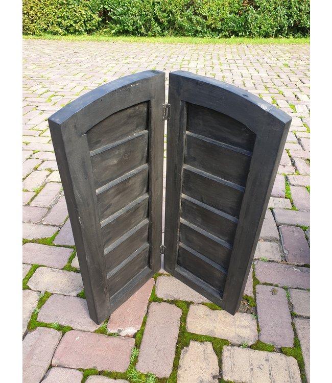 @ GG  - Dubbel louvreluik zwart met scharnier - brede plank - 50 x 60 cm