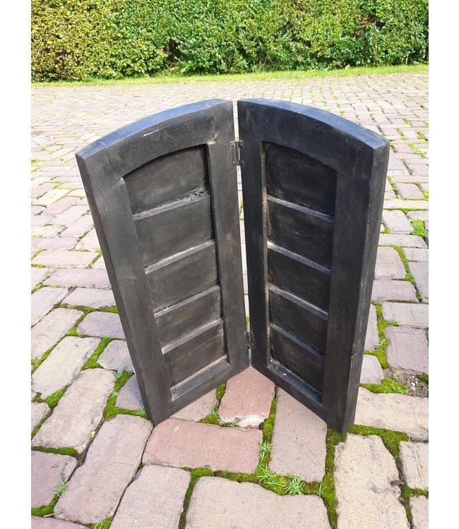 @ GG  - Dubbel louvreluik zwart met scharnier - brede plank - 43 x 47 cm