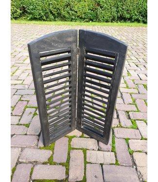 @ GG  - Dubbel louvreluik zwart met scharnier - smalle plank - 60 x 70 cm