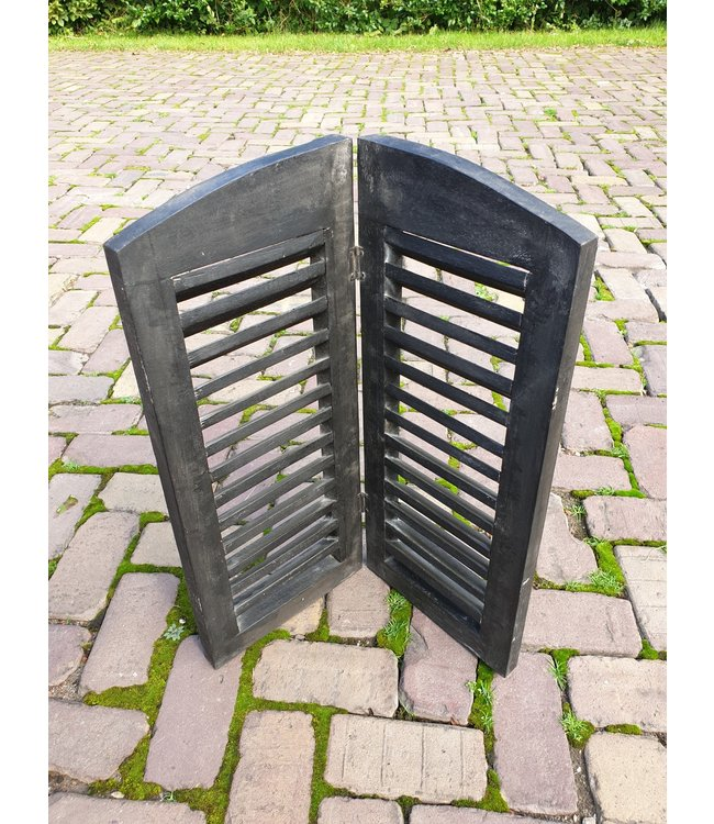 @ GG  - Dubbel louvreluik zwart met scharnier - smalle plank - 50 x 60 cm