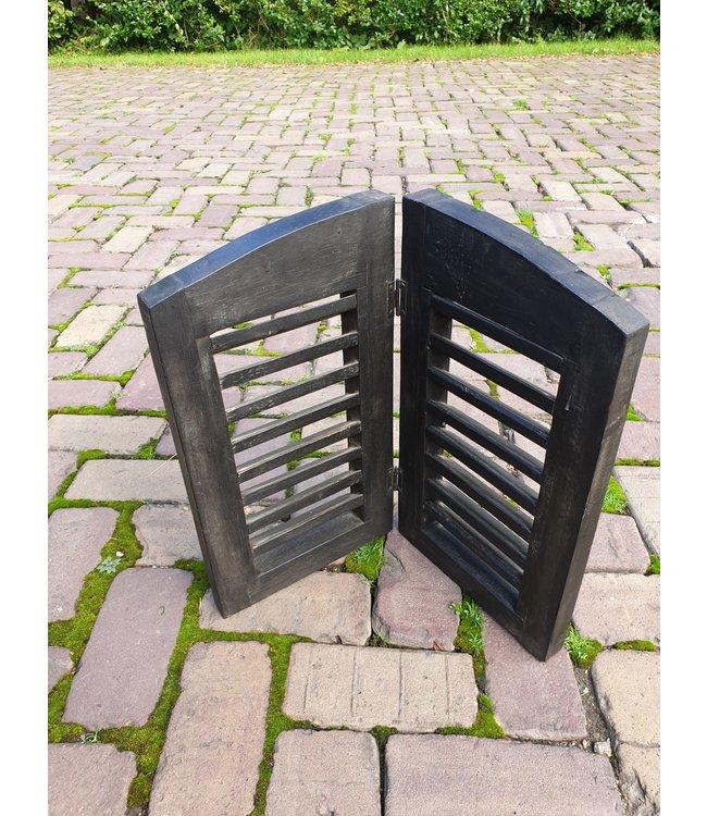 @ GG  - Dubbel louvreluik zwart met scharnier - smalle plank - 44 x 40 cm