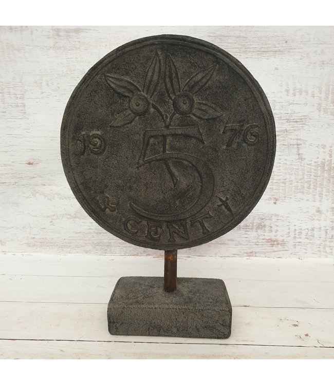 @ GG - Ornament munt 5 cent - polystone - 18 x 10 x 42 cm