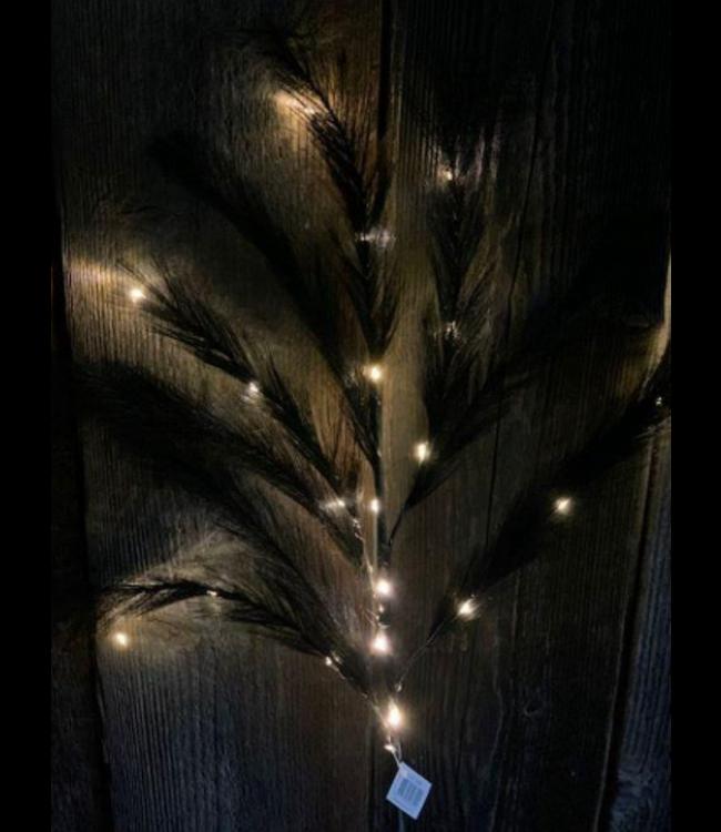 @ pluimen met lichtjes zwart op led - 95 cm