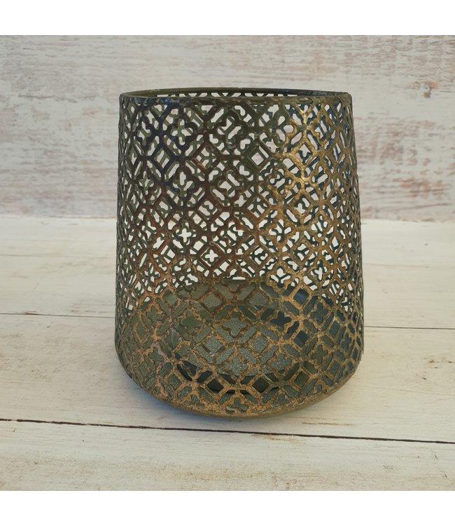 Theelichth Bibian L brons - 15 x 15 x 16 cm