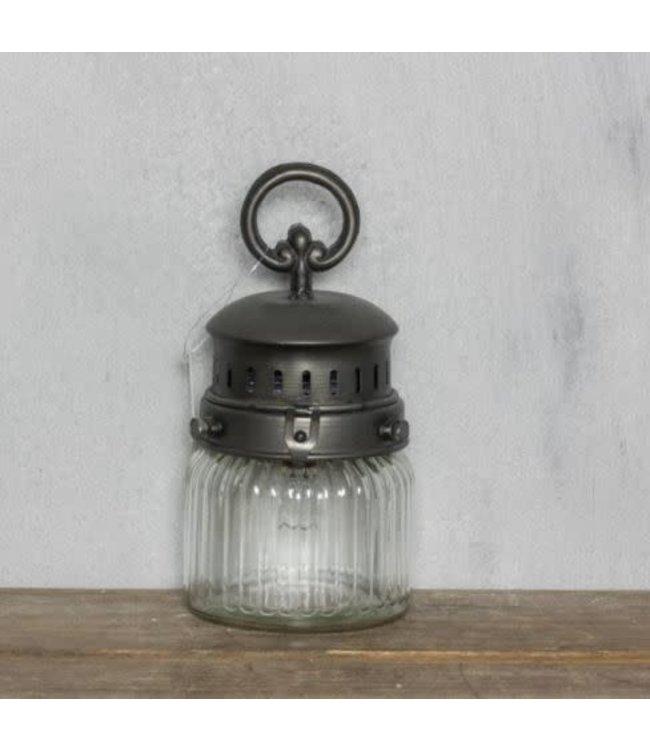 *Q283 - Windlicht S metaal inclusief led lamp op batterij 11x21.5cm