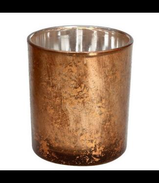 Waxinehouder - glas - 7x7x8 cm