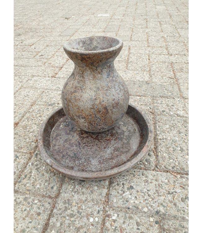 GG - Schaal met vaas - aardewerk - bruin melee - wordt niet verzonden