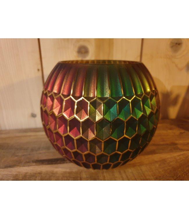 Waxinelichthouder - glas - multicolor - 15 x 13 cm