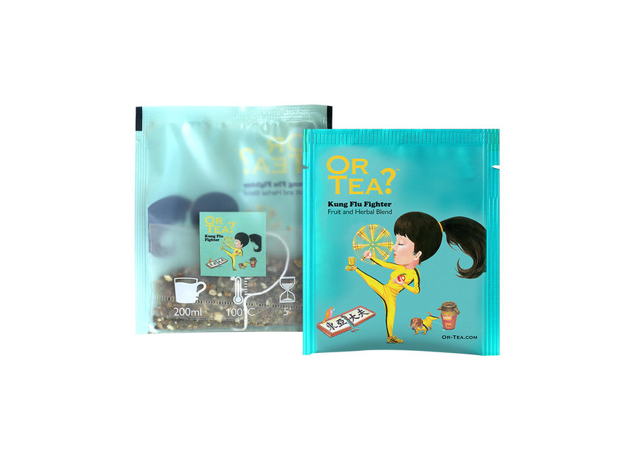 """Kung Flu Fighter - Green Tea with Herbal Infusion (20g)  """"Or Tea?™ 有機武病大師10茶包裝 (花草水果茶) 歐洲進口"""" (Best Before: 2021-12-28)"""